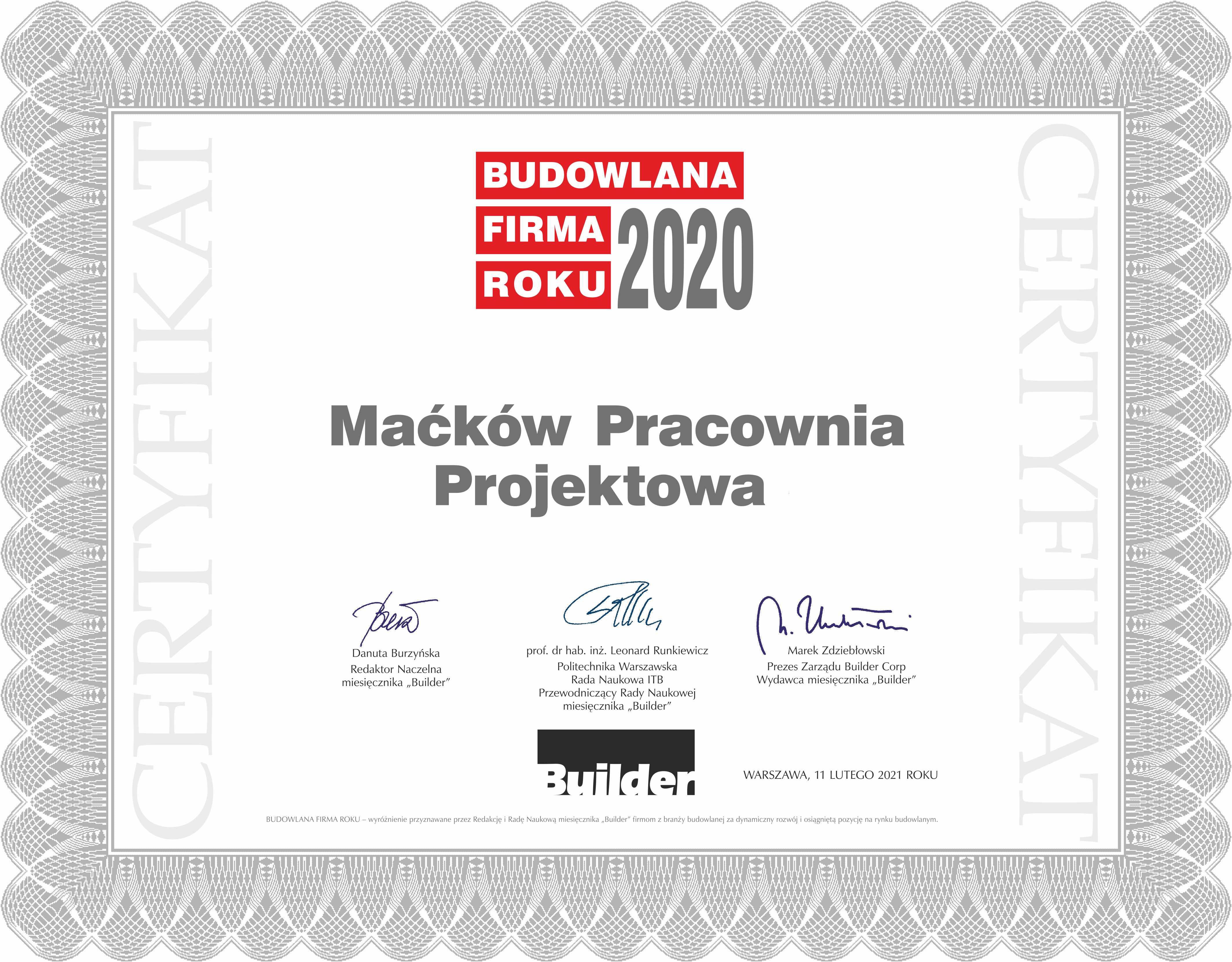 certyfikat_budowlana firma roku